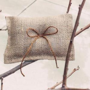 burlap ring pillow, boy ring bearer..