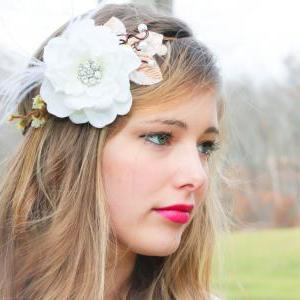 bridal flower hair crown, woodland ..