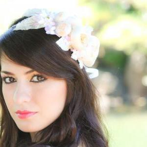 ivory bridal flower hair crown, woo..