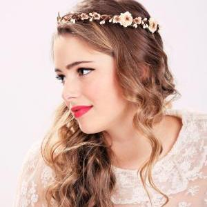 peach blossom flower crown, bridesm..
