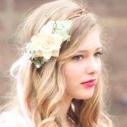 wedding headpiece, ivory flower crown, natural pine cone rose floral hair crown 'Take my breath away'