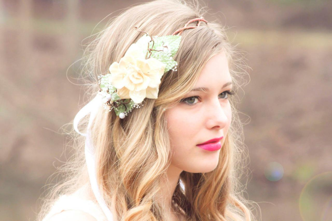 Wedding Headpiece Ivory Flower Crown Natural Pine Cone Rose Floral