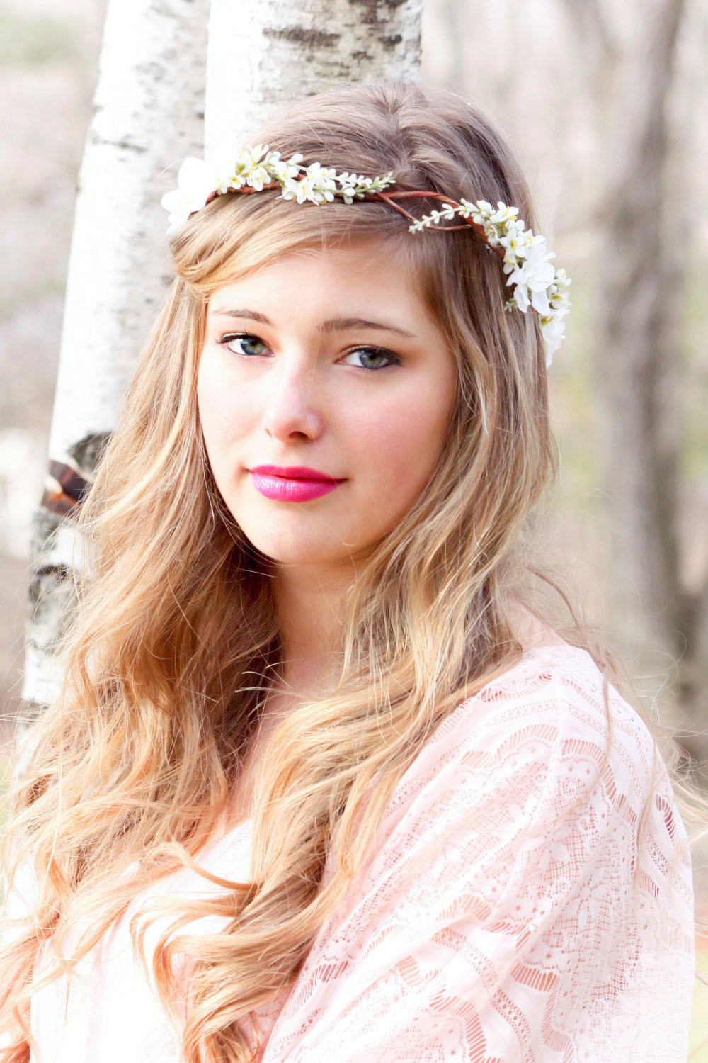 Ivory Cherry Blossom Hair Crown Bridal Flower Crown Wedding