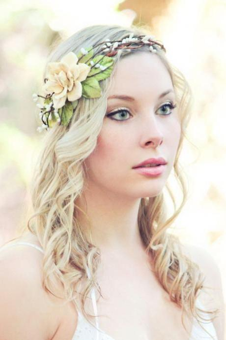 bridal head piece, pine cone rose head piece, woodland wedding