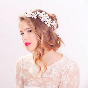 cherry blossom flower crown, wedding headpiece, flower crown, bridal headband, wedding headband, bridal headpiece, wedding accessories