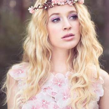 peachy pink flower crown, wedding headpiece, flower crown, bridal headband, wedding headband, bridal headpiece, wedding accessories