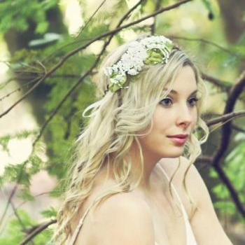 white bridal flower crown, wedding hair accessories, wedding flower wreath silk flower headband
