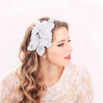 Bridal headband, bridal headpiece, wedding hair accessories, wedding headband, blue flower hair crown