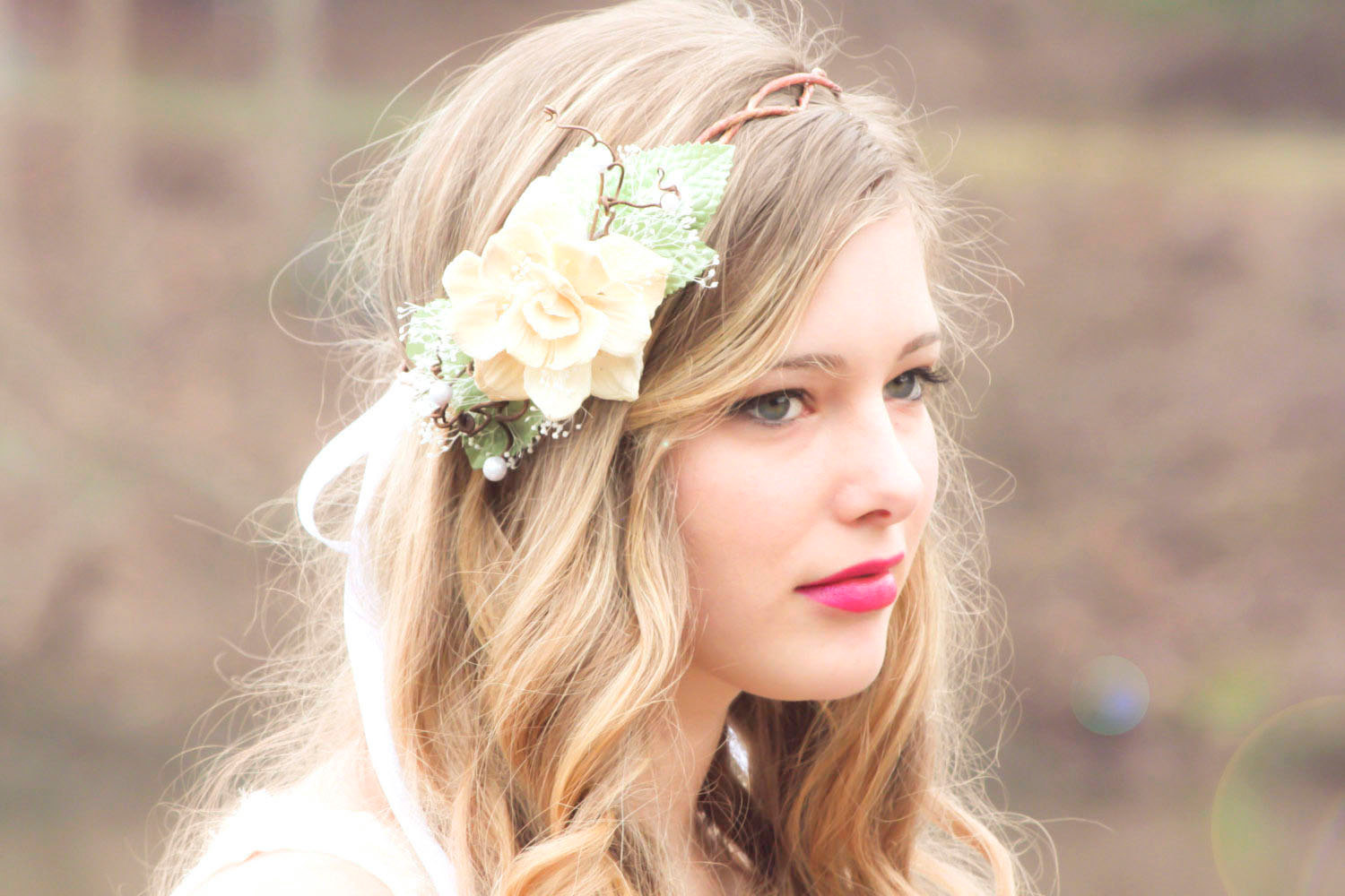 Wedding headpiece ivory flower crown natural pine cone rose floral wedding headpiece ivory flower crown natural pine cone rose floral hair crown take my breath away izmirmasajfo