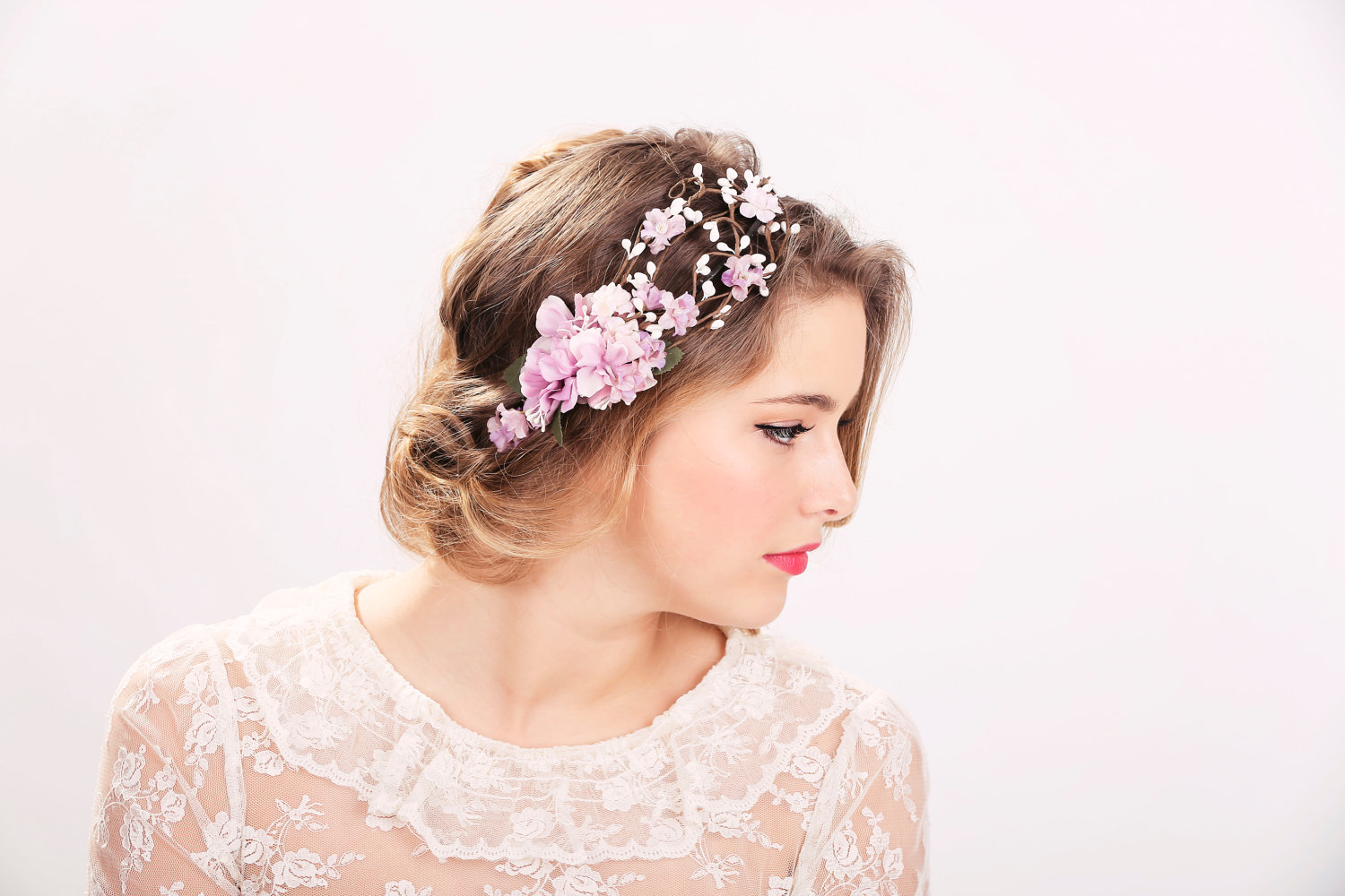Wedding Accessories Bridal Flower Crown Headpiece Head Wreath In Purple Hair