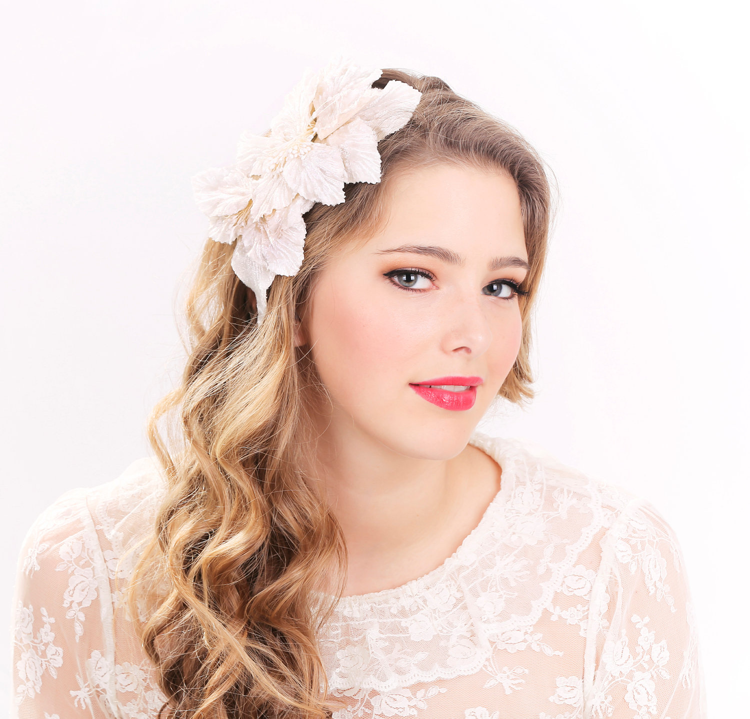 Wedding Hairstyle With Headband: Bridal Headband, Bridal Headpiece, Wedding Hair