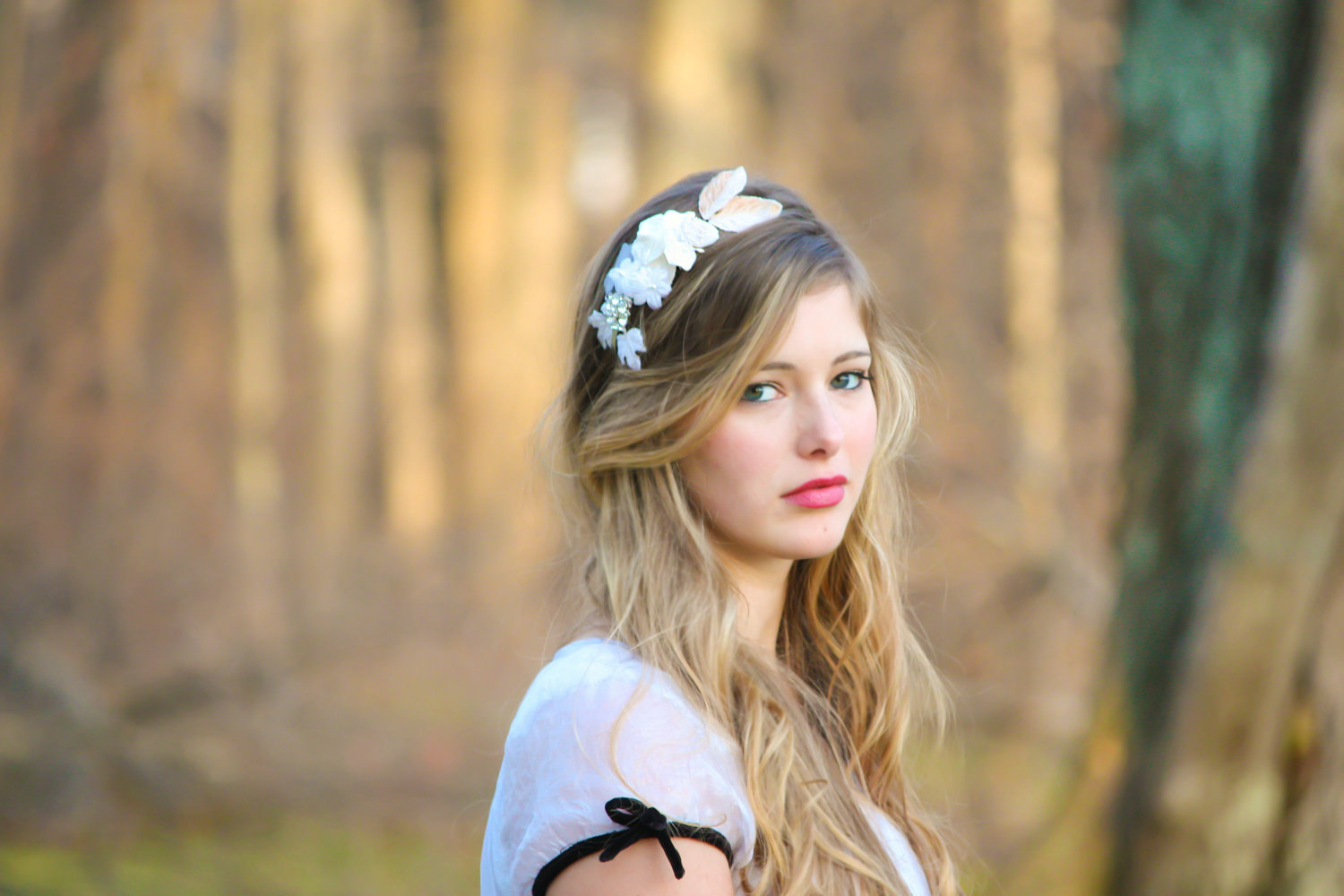 Flower Crown Bridal Headband With Velvet Flowers And Rhinestone On