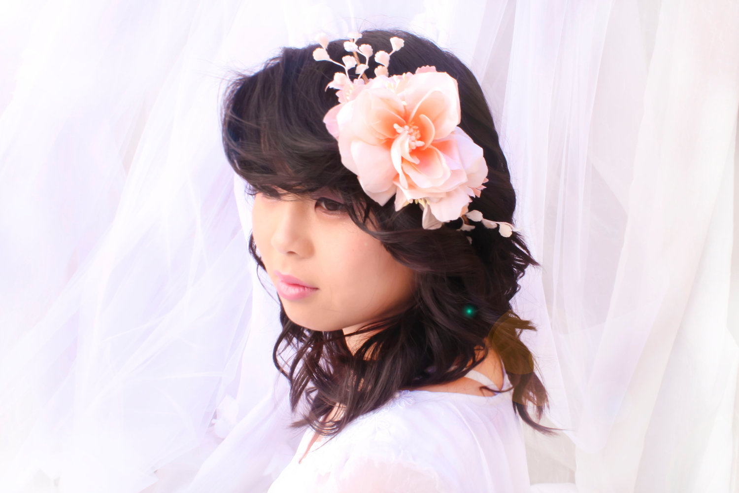 Flower Crown Peach Vintage Floral Band Floral Head Piece With